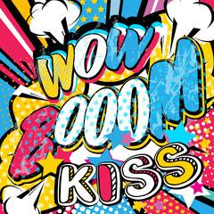 Wow Boom Kiss comics pop art vector illustration