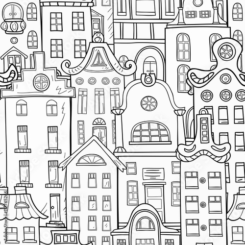 Seamless pattern of hand-painted homes. Monochrome gamma . - 112765266