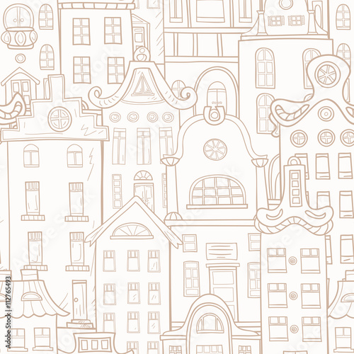 Seamless pattern of hand-painted homes. Monochrome gamma . - 112765493
