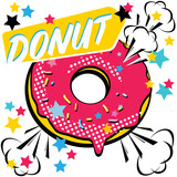 Fast food Donut. Pop art style. Vector illustration.
