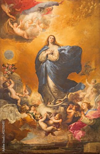 Fototapeta The Immaculate conception of Virgin Mary painting on the altar of Convento de las Agustinas and Iglesia de la Purisima church by Jose de Ribera 1635.