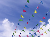 Colorful bunting in sky