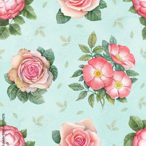 Fototapeta Watercolor rose flowers illustration. Seamless pattern