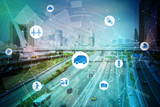 Fototapety modern transportation and communication network, intelligent vehicle, smart transportation, internet of things, abstract image visual