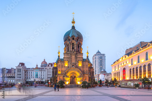 Poster sophia cathedral in harbin in fine day at twilight