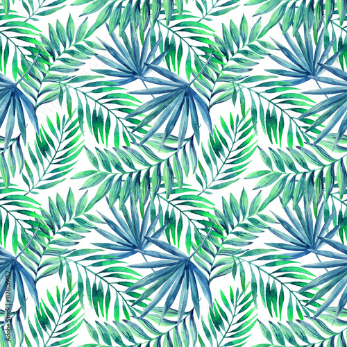 Cotton fabric Watercolor tropical leaves seamless pattern