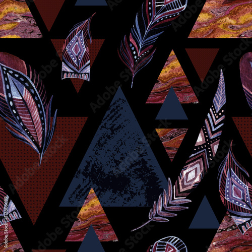 Abstract grunge geometric seamless pattern. - 112806699