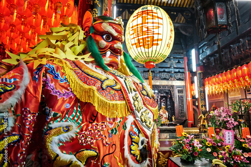 God statue in traditional old oriental chinese temple in Taiwan (Chinese Transla Poster