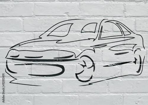 Fototapeta Art urbain, silhouette d'un voiture