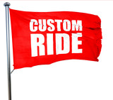 custom ride, 3D rendering, a red waving flag