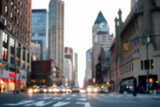Defocused image of midtown 8th Avenue facing downtown, with car headlights blurred