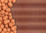 Basketball balls on wooden floor background with copy-space.3D rendering