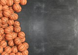 Basketball balls on chalkboard background with copy-space.3D rendering