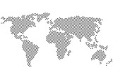 Fototapety black and white vector color halftone world map silhouette