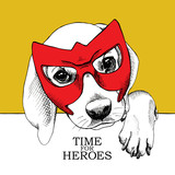Plakat z portretem psa noszącego maskę bohatera.