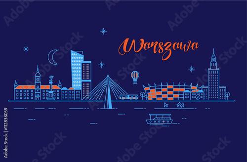 Panorama miasta Warszawa w nocy
