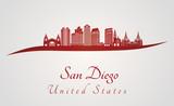 San Diego skyline in red