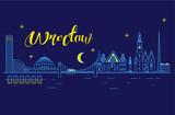 Panorama miasta Wrocław w nocy