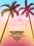 Fototapety Tropic Summer Beach Party. Tropic Summer vacation and travel. Tropical poster colorful background and palm exotic island. Music summer party festival. DJ template.