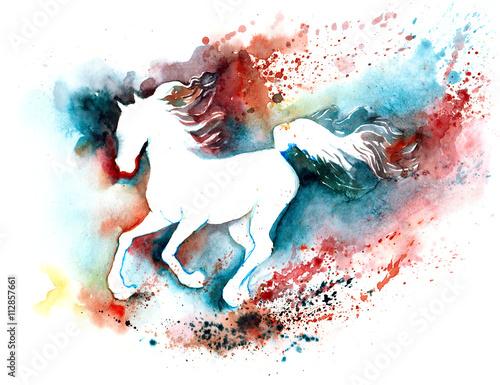 Foto op Aluminium Schilderingen silhouette of horse