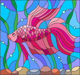 Illustration in stained glass style with red fighting fish on the background of water and algae