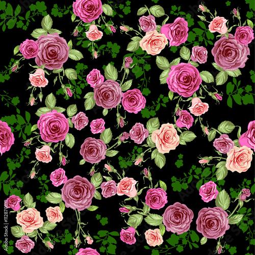 Fototapeta Roses seamless pattern on dark background