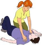 First aid - woman near man unconscious - 112874648