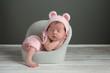 Newborn Girl Wearing a Pink Bear Hat