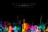 runge style vector art, colorful city night skyline illustration. - 112877474