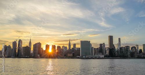 New York City Manhattan buildings sunset