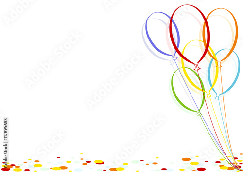 Colored Confetti and Party Balloons - Celebration Background Illustration, Vector