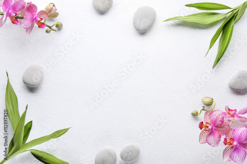 Fotobehang Spa Spa stones with bamboo