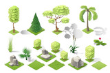 Fototapety Isometric plants garden forest collection vector set