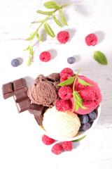 ice creamice cream with berries