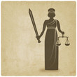 Постер, плакат: Themis with sword and scales old background
