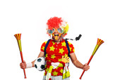 Spain football fan in a red wig and horns