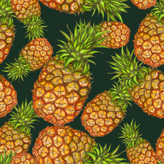 Seamless pattern of hand drawn pineapples