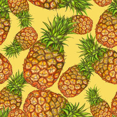 Pineapple pattern on yellow background