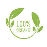 Organic logo. 100 percent natural stamp.