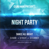 Fototapety Night Dance Party Poster Background Template. Vector mockup
