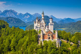 Fototapety Famous Neuschwanstein Castle with scenic mountain landscape near Füssen, Bavaria, Germany