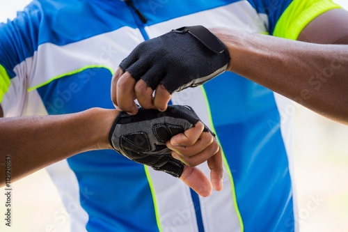Athlete wearing cycling gloves