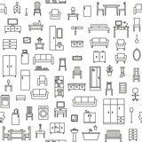 Vector seamless pattern background with home furniture outline icons 3 - 112923257