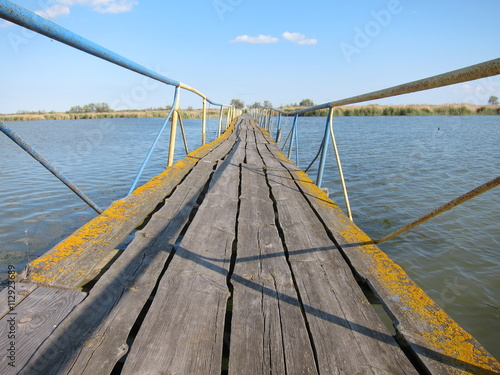 mata magnetyczna Old wooden broken damaged bridge
