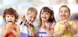 children or kids group eating ice cream - 112924458