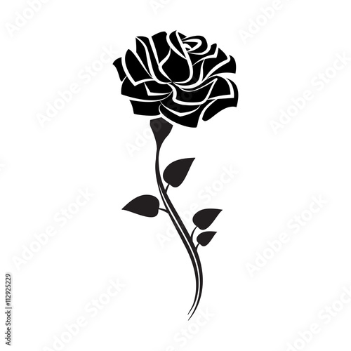 Black silhouette of rose with leaves. Tattoo style rose. Vector