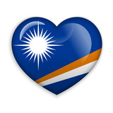 Love Marshall Islands. Flag Heart Glossy Button