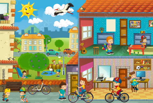 Cartoon city scene - cut through image of a house and playground - illustration for children - 112928840