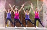 Young woman keep fit shape exercising