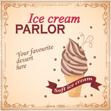 """Vector illustration banner with chocolate ice cream on the vintage background and text  Your favourite dessert here. Template for menu, restaurant, shop, cafeteria, ice cream parlor. eps10 82279592,Equestrian Sports"""""""